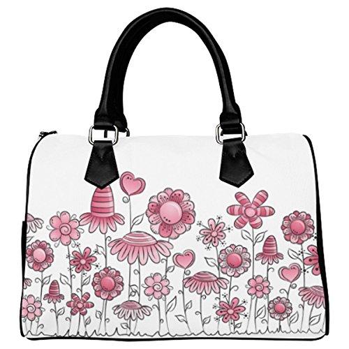 Jasonea Women Boston Handbag Top Handle Handbag Satchel Field Of Poppy Flowers Basad129011