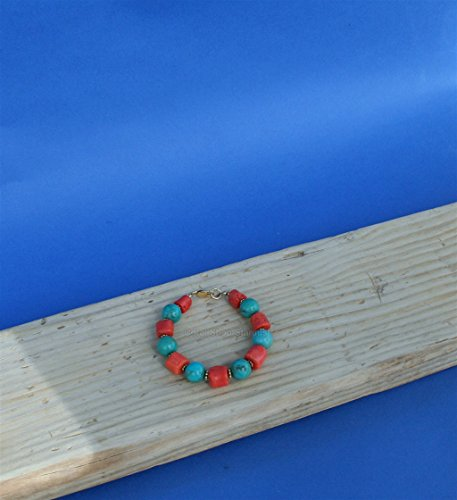 14k Gold Untreated Precious Old Mediterranean Coral Bracelet, Natural Turquoise Bracelet *Exp (14k Coral Bracelet)