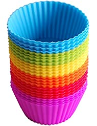 Lingstar Silicone Baking Cups, Reusable and Non- Stick Muffin Cups Cake Molds, Pack of 24