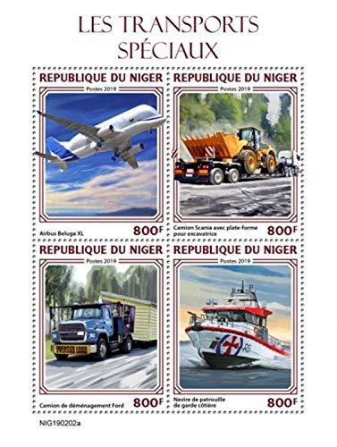 Niger - 2019 Special Transport Vehicles - 4 Stamp Sheet - NIG190202a