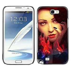 Caucho caso de Shell duro de la cubierta de accesorios de protección BY RAYDREAMMM - Samsung Galaxy Note 2 N7100 - Woman Red Head Fire Witch Eyes Wizzard