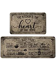 Artoid Mode Kitchen Quotes Kitchen Mats Set of 2, Seasonal The Kitchen is The Heart of The Home Cooking Sets Holiday Party Low-Profile Floor Mat for Home Kitchen - 17x29 and 17x47 Inch