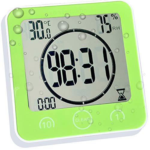 Green Sunsbell Shower Wall Clock Waterproof Digital Temperature Humidity Display with Suction Cup Touch Screen Timer for Kitchen Bathroom