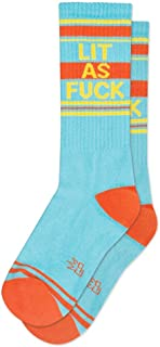 product image for Lit as Fck Ribbed Unisex Gym Socks in Blue, Orange and Yellow