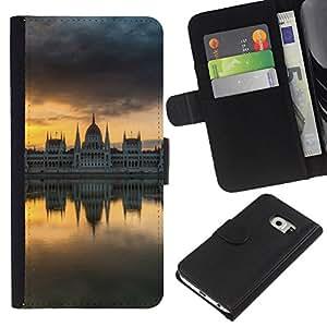Planetar® Modelo colorido cuero carpeta tirón caso cubierta piel Holster Funda protección Para Samsung Galaxy S6 EDGE / SM-G925(NOT FOR S6!!!) / SM-G925(NOT FOR S6!!!) ( Mirror City )