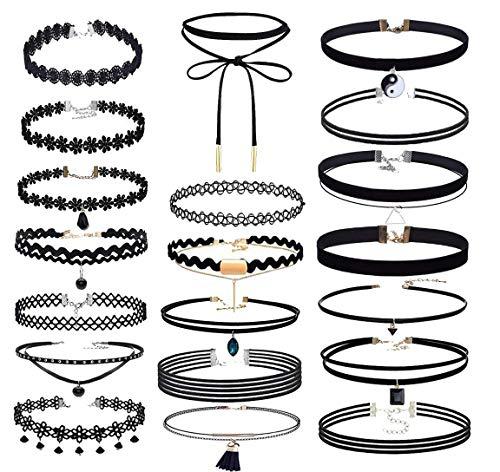 20 PCS Black Velvet Short Necklace Necklace Set Henna Tattoo Short Necklace Set Velvet Tattoo Ribbon Velvet Short Necklace Set Suitable for Teen Women's Wear (Black) ()