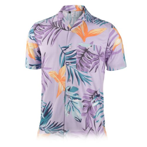 Texture Camp Shirt - Monterey Club Mens Dry Swing Mediterranean Texture Camp Shirt #1551 (True Violet, Large)