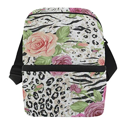 Lunch Bag Animal Leoprad Print Rose Floral Insulated Cooler Bag Adult Leakproof Lunch Organizer Zipper Tote Bags for BBQ