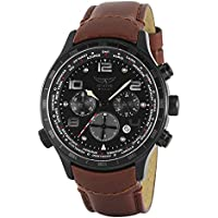 Aviator Military Army Mens Wrist Watch Aviation Pilot Cronograph Brown Band Stainless Steel Case F-Series World Time Traveller Collection AVW1266G153