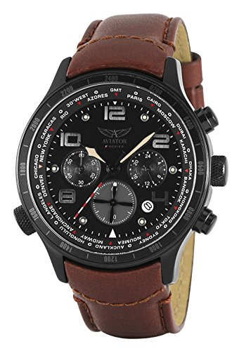 Aviator Pilot Chronograph Watch - Aviator Military Army Mens Wrist Watch Aviation Pilot Cronograph Brown Band Stainless Steel Case F-Series World Time Traveller Collection AVW1266G153