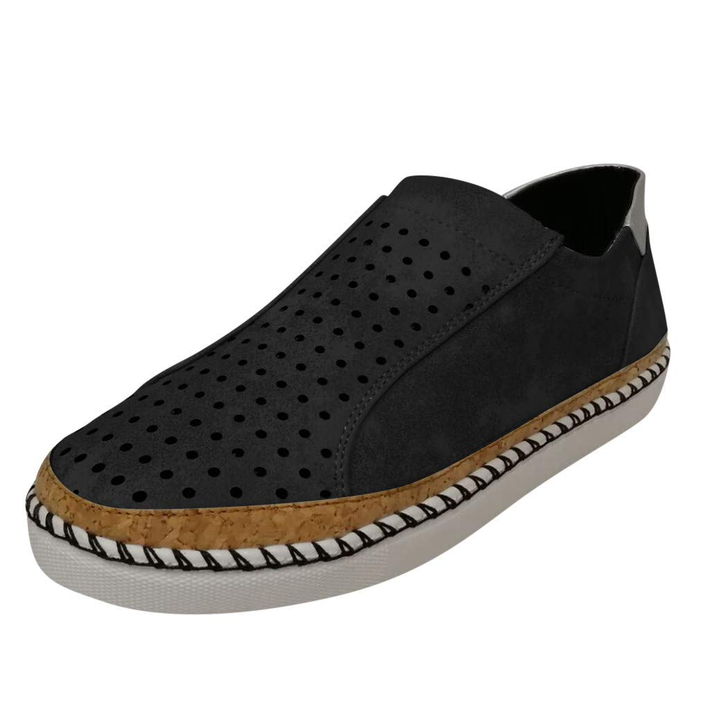 Bravetoshop Women's Fashion Flats Hollow Round Toe Sports Casual Shoes Breathable Sneakers(Black,42)