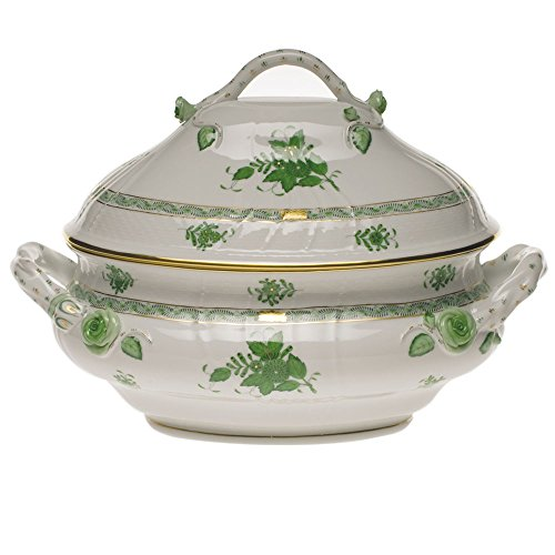 Herend Chinese Bouquet Green Tureen With Branch Handles