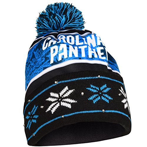Carolina Panthers Skull Cap (FOCO NFL Carolina Panthers Wordmark Light Up Printed Beanie Knit Cap, Team Color, One)