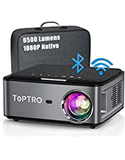 TOPTRO 5G Bluetooth WiFi Projector with Carrying Case,Upgraded 8500 Lumen Native 1080P Portable Projector,Support 4D Keystone/Zoom/4K,Home Theater Projector Compatible with Phone/TV Stick/PC/USB/PS4/DVD