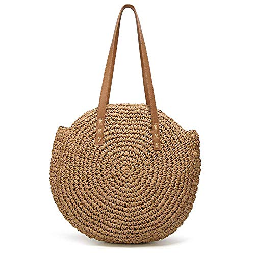 Round Straw Beach Bag Summer Vintage Handmade Crossbody Bag Women Circle Beach Bag Outdoor Straw Braided Shoulder Bag Multi-Purpose Sling Bag for Shopping Travel Camping
