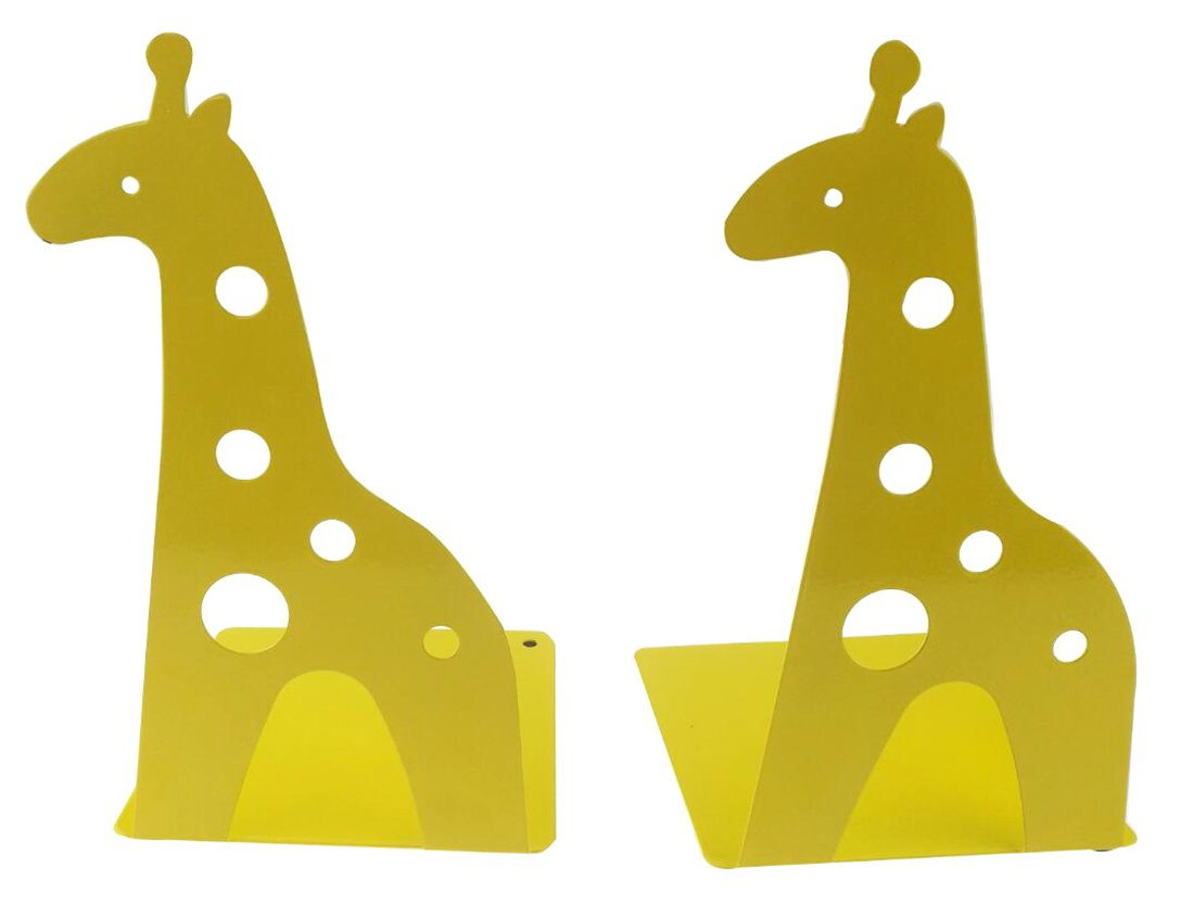 A Pair Of Cute Cartoon Giraffe Nonskid Metal Bookends For Kids Children Bedroom Library School Office Desk Study Gift (Yellow)