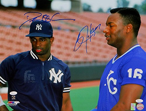 Bo Jackson & Deion Sanders Autographed 16x20 NY & KC Photo- JSA W Auth Blue Top Center -
