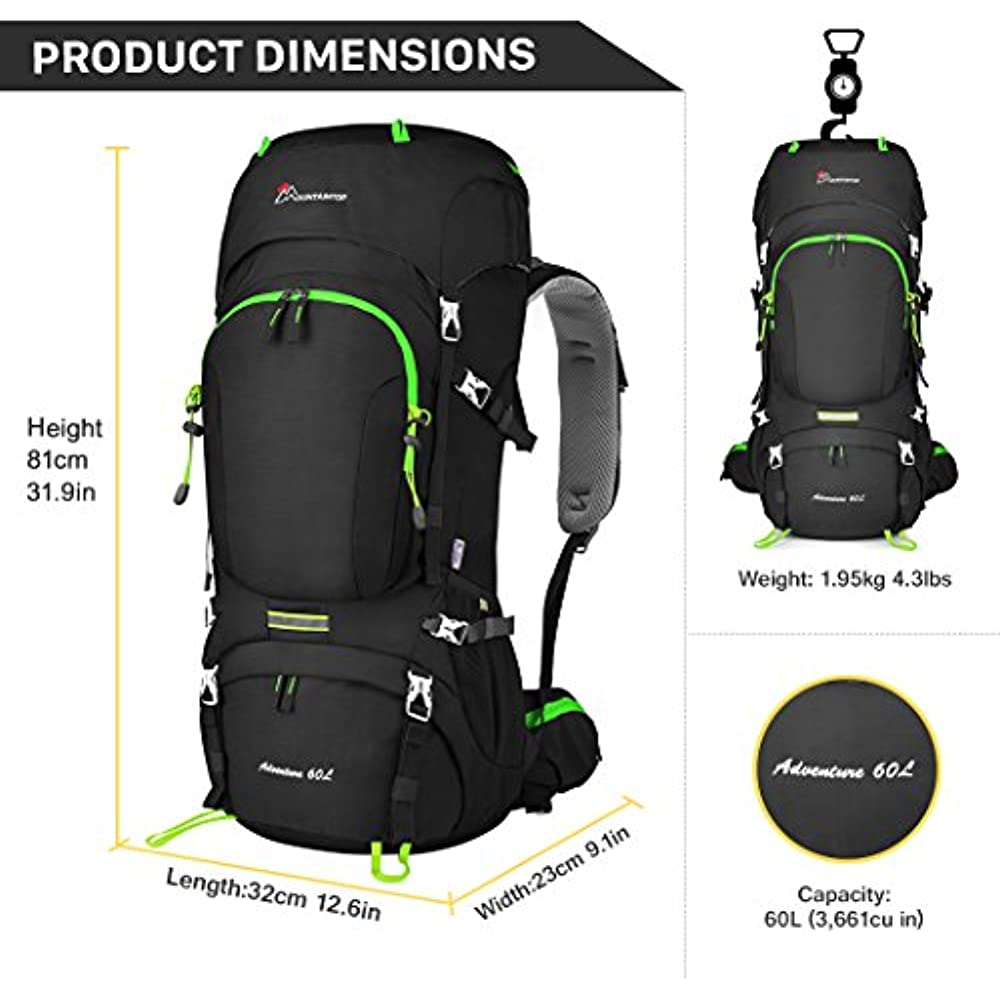 Mountaintop Internal Frame Backpacks 60L Hiking Backpacking Packs ... d99e25f8afda6
