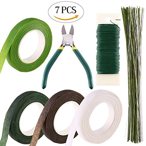 DECORA Floral Tools Kits Wire Floral Stems 18 Gauge ,22 Gauge and 26 Gauge, Wire Cutter And Floral Tape for Floral Arranging Craft Projects Corsages, Wedding Bouquet