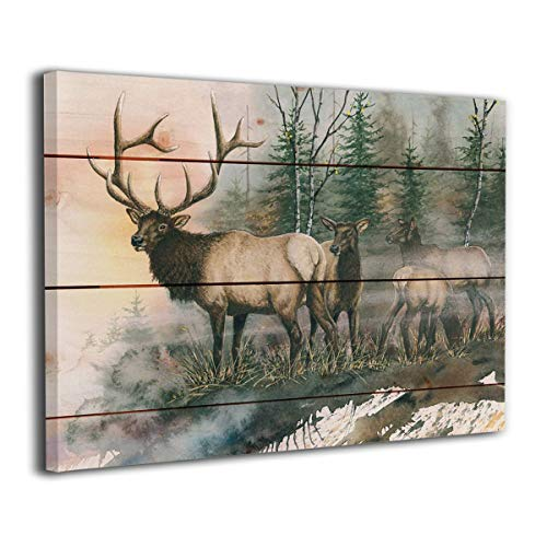 Alpha-Art Daybreak Elk Watercolor Print On Wood Background Wall Decor Canvas Prints Wall Art for Bathroom Living Room Bedroom - Stretched and Ready to Hang