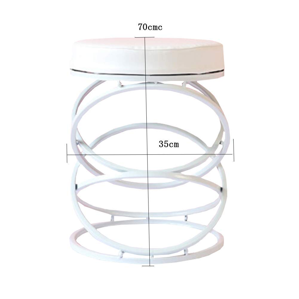 White 3545cm JZX Fashion Round Makeup Stool, Wrought Iron shoes Bench, Home Decoration Sofa Stool