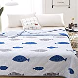 KFZ Quilt Comforter Cotton Bedspread for Bedding Set Breathable Ultrasound Quilted quilt HDD twin Full Queen Popular Cartoon Design for Adults Kids Baby 1pc (Fish Time, Pink, Child, 39''x59'')