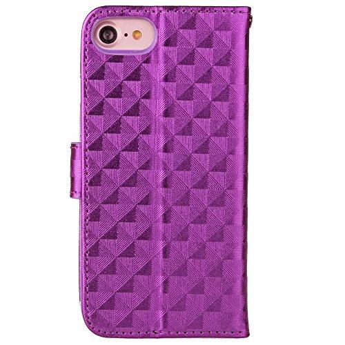 JIALUN-carcasa de telefono Cubierta de la caja del iPhone 7, caja del tirón del patrón del enrejado cuadrado cubierta de TPU con la cuerda y marco de la cartera y de la foto para Apple IPhone 7 ( Colo Purple