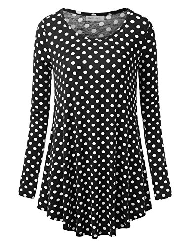 BaiShengGT Women's Round Neck Printed Loose Fit Casual Blouse Top Tunic Shirt Black Dot L (Dot Print Tunic Top)