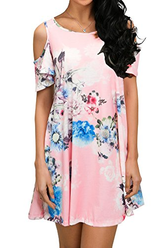 QIXING Women's Summer Cold Shoulder Floral Print Dresses Swing T-Shirt Dress with Pockets - Dress Tank M&m Adult