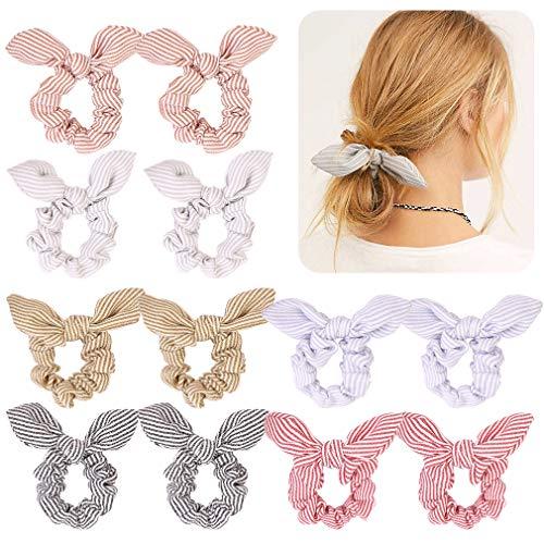 12Pcs Hair Scrunchies Striped Bunny Bow Ear Elastic Hair Ties Ponytail Holder Ropes Bowknot Scrunchy Bobbles Hair bands for Women Hair ()