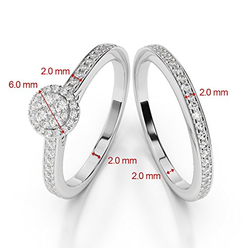 Or blanc 18carats 1CT G-H/VS sertie de diamants Coupe ronde de mariage Bague de fiançailles et ensemble de Agdr-2025