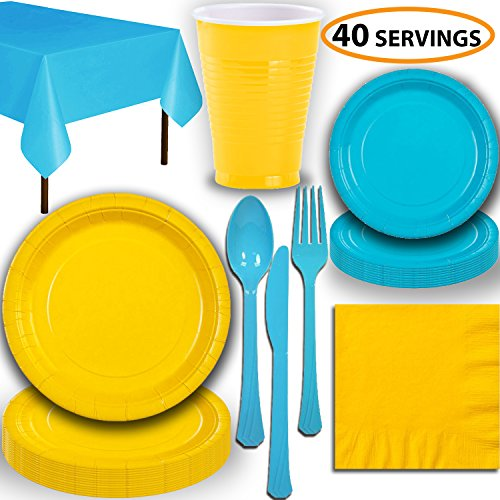 - Disposable Party Supplies, Serves 40 - Yellow and Turquoise - Large and Small Paper Plates, 12 oz Plastic Cups, Heavyweight Cutlery, Napkins, and Tablecloths. Full Two-Tone Tableware Set