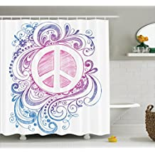 Ambesonne Groovy Decorations Shower Curtain Set, Classic Hand Drawn Style Peace Sign And Swirls Freedom Change Hope Roll Icon, Bathroom Accessories, 69W X 70L Inches, Pink Blue White