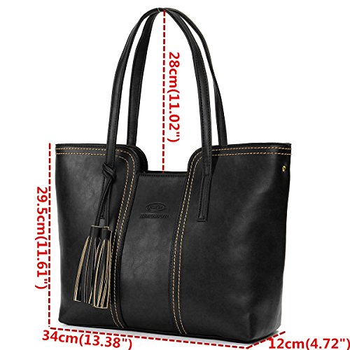 with Tassel Work PU Handbag Black Purse Shoulder Tote Handbags Bags Ladies JOSEKO Women Leather Vintage for Hobo xqY7q6wfZ