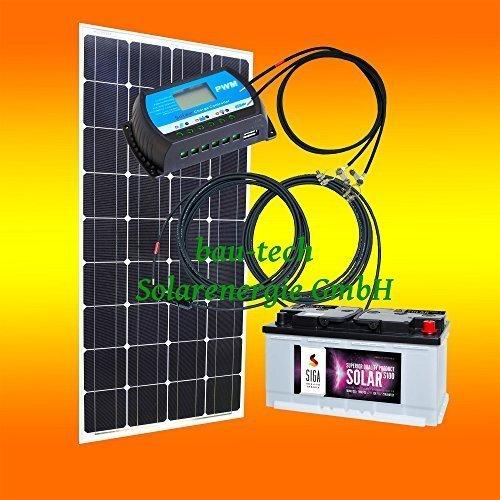 130 Watt Inselanlage, 12 Volt SET ohne Spannungswandler mit Batterie
