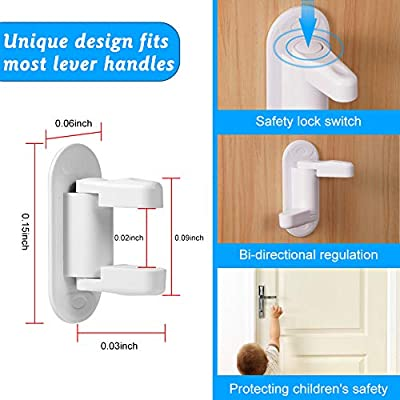 Door Level Locks for Kids,Baby Proofing Cabinets - Child Safety Proof Door and Hanldes 3M Adhesive(2 Packs)