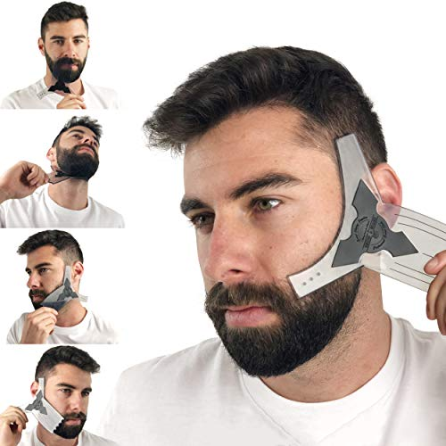 Beard Shaper Guide Template for Men's Care | All Size or Style 8 in 1 Multi-Liner Beard Shaping Tool for Barber's Touch Styling, line up, and Edging | Ideal for Facial Hair Trimmer, Razor, or Clippers (Resource Event Guide)