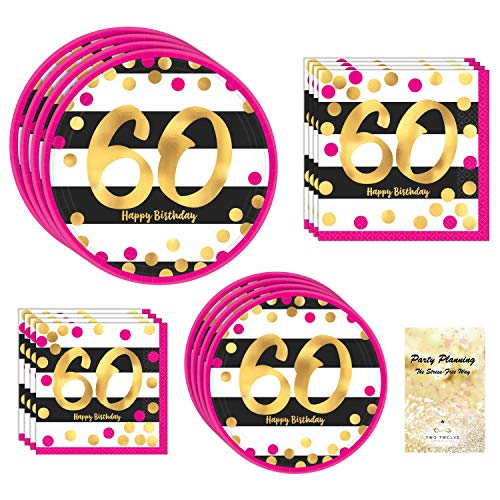 60th Birthday Party Supply Pack, Pink and Gold Design, Bundle of 4 Items: Dinner Plates, Dessert Plates, Lunch Napkins and Beverage Napkins