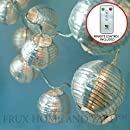 24 SILVER LANTERNS - INDOOR / OUTDOOR MINI NYLON STRING LIGHTS EXTRA LONG 16 FT - REMOTE CONTROL - EXTENDABLE - INCLUDES BONUS HANGING HOOKS