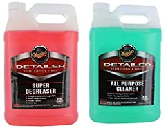 Meguiar's Detailer Super Degreaser (1 gallon) exceeds expectations with an amazing formula that quickly breaks down the toughest grease. Designed with a fast acting, free rinse formula that prevents unsightly white residue stains. Leaves an h...