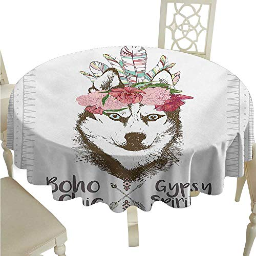 Zodel Round Tablecloth Wolf Aztec Floral Head Portrait of Siberian Husky Dog Tribal Arrow Elements Kitsch Image Washable Tablecloth D50 Suitable for picnics,queuing,Family