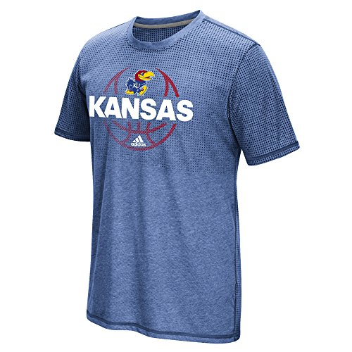 NCAA Kansas Jayhawks Men's Fade Away ClimaCool Aeroknit Short Sleeve Tee, Small, Collegiate Royal Heathered