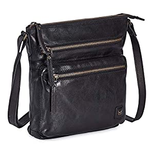 Wise Owl Accessories Real Leather Small Crossbody Handbags & Purses for Women -Premium Crossover Over the Shoulder Bag