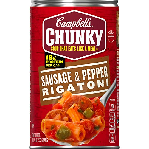 Campbell's Chunky Sausage & Pepper Rigatoni Soup, 18.8 oz. Can (Pack of 12) (Add A Bit Of Color To Crossword)