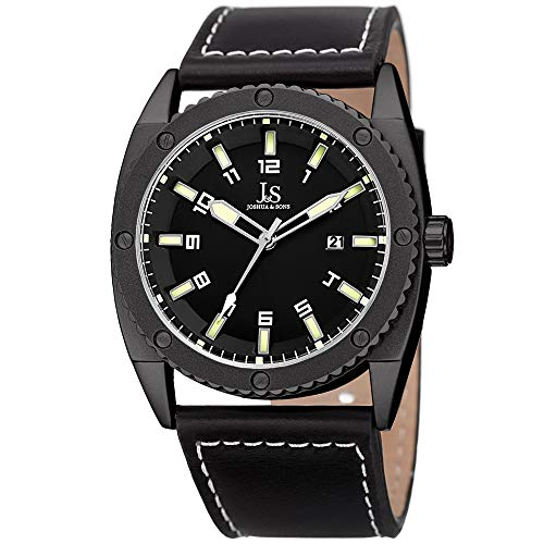 - Joshua & Sons Leather Men's Watch - Rugged Sports Design - Matte Bezel with Coin Edge and Decorative Screws - Black Strap, Black Dial - JX120LM