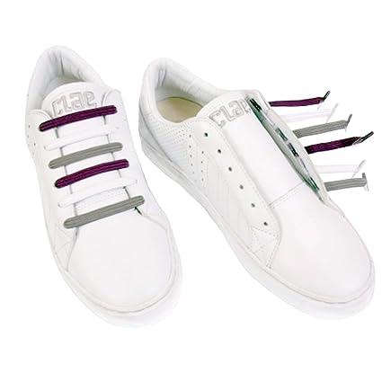 U-LACE CLASSIC Royalty Lacets plats élastiques multicolores couleurs blanc violet gris pour chaussures et baskets Vans Converse Adidas Nike Homme Femme Enfant ur46kaVQjV