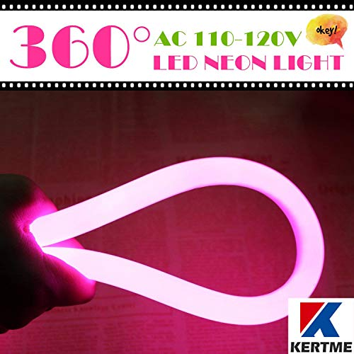 KERTME 360° Neon Led Type AC 110-120V 360 Degree NEON LED Light Strip, Flexible/Waterproof/Dimmable/Multi-Modes LED Rope Light + Remote for Home/Garden/Building Decor (65.6ft/20m, Pink) by KERTME (Image #2)