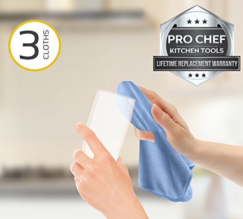 Pro Chef Kitchen Tools Stainless Steel Microfiber Cleaning Cloth - 3 Pack Polishing Cloths for Streak Free Glass, Cleaner Sinks, Polished Glasses, Shiny Appliances