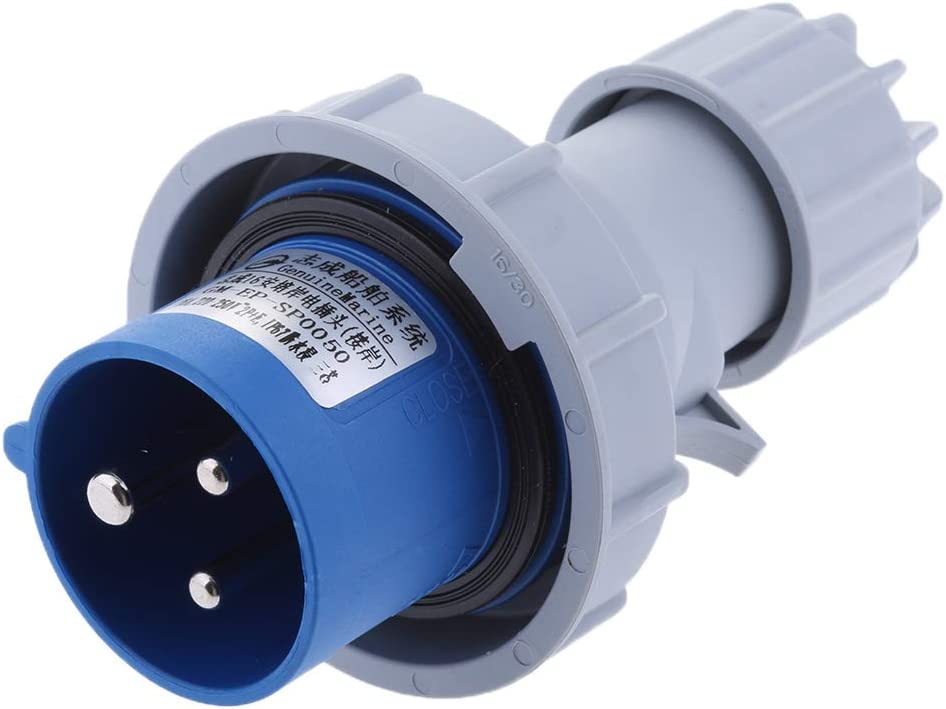 H HILABEE Marine Electrical Plug 16A//220-250V 3pin Male Locking Shore Power Connector
