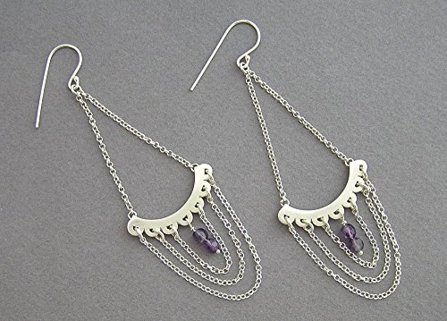 (Sterling Silver Chandelier Earrings - Draped Chain and Amethyst)
